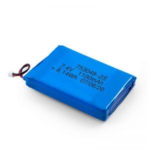 د LiPO د چارج وړ بیټرۍ 753048 3.7V 1100mAh / 7.4V 1100mAH / 3.7V 2200mAH